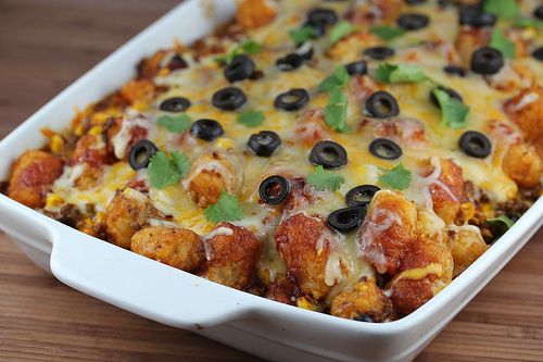 taco tater tot bake combines tater tots into a mexican style casserole ...