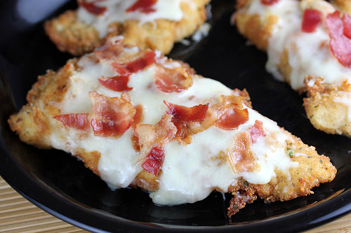 breaded chicken with bacon