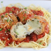 Mozzarella Stuffed Turkey Meatballs