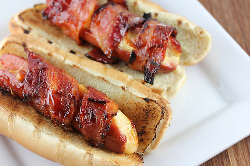 Bacon Wrapped Cheese Stuffed Hot Dogs Recipe