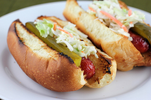 Cabbage Onion Hot Dogs