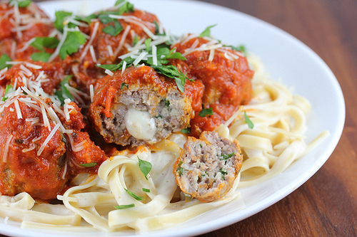 Provolone Stuffed Meatballs