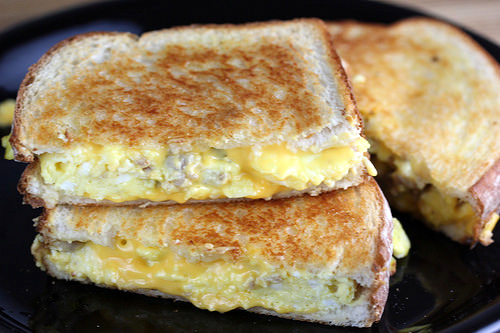 egg and sausage grilled cheese