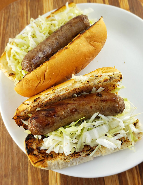 Beer Brats with Slaw