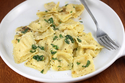Ravioli with Garlic Basil Oil