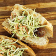 Brats with Broccoli Slaw