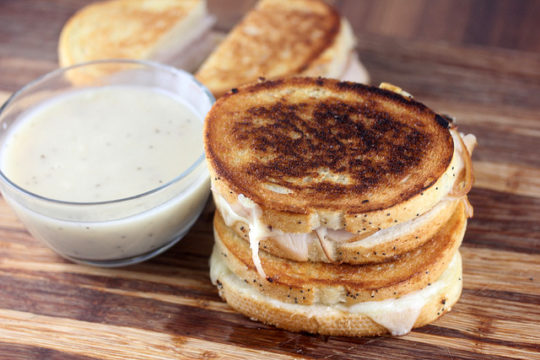 Turkey Grilled Cheese with Gravy