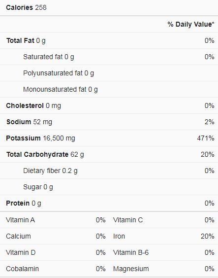 Cream of tatar nutrition facts