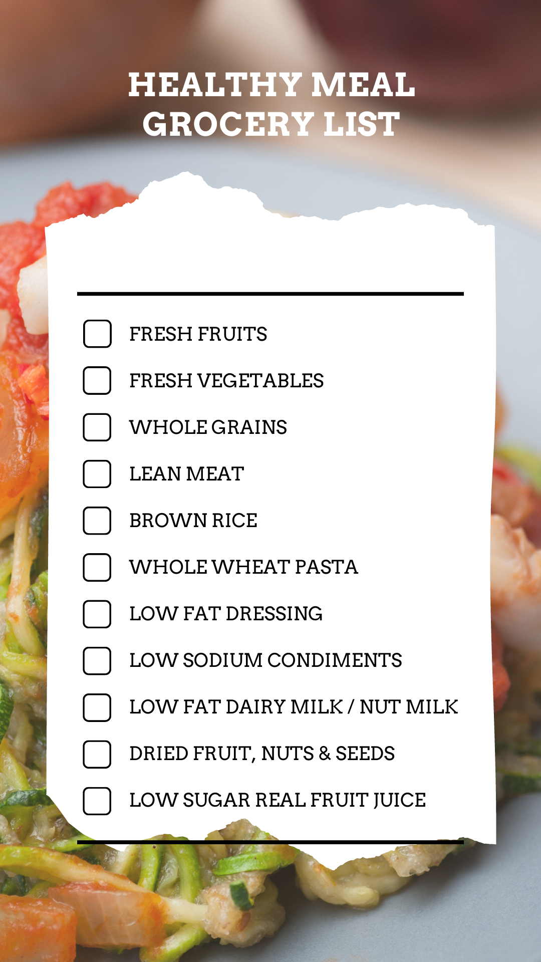 Prepare a Checklist of Groceries