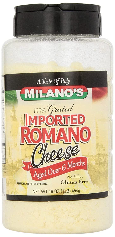 Milano's 100% Imported Romano Cheese Jar