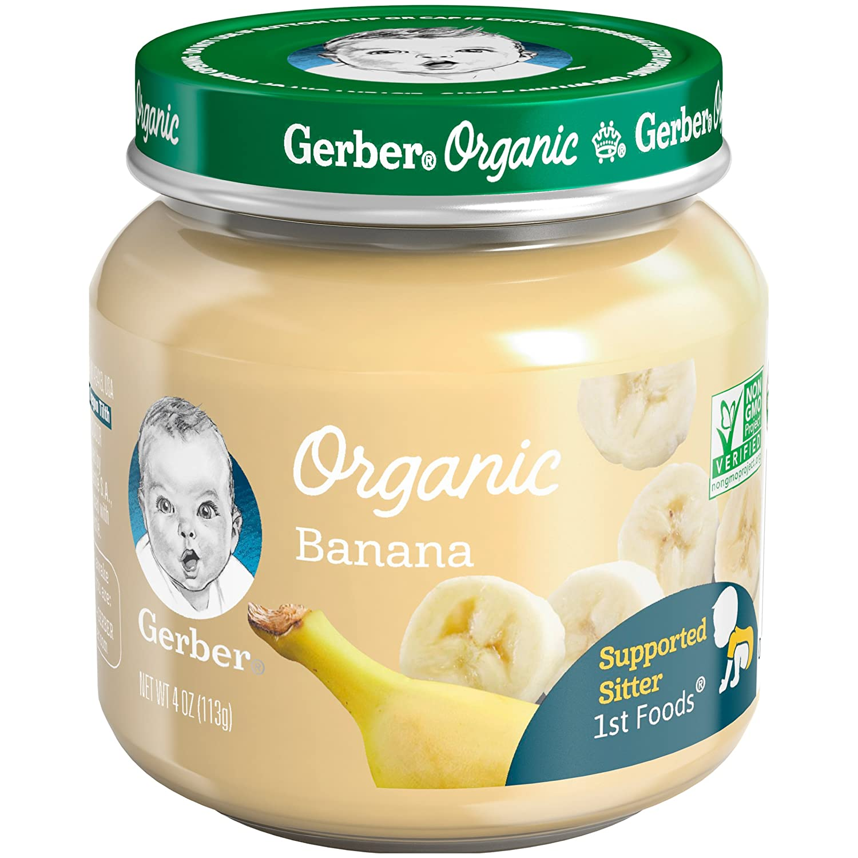 Gerber Purees Organic 1st Foods Banana Baby Food Glass Jar