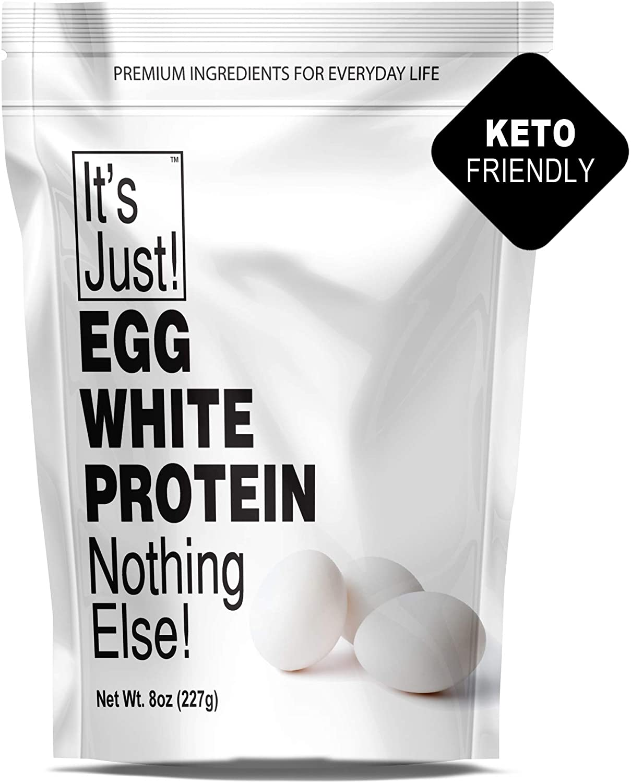 It's Just - Egg White Protein Powder, Dried Egg Whites Protein, Meringue Ingredient, Non-GMO, USA Farms, Unflavored (8oz)