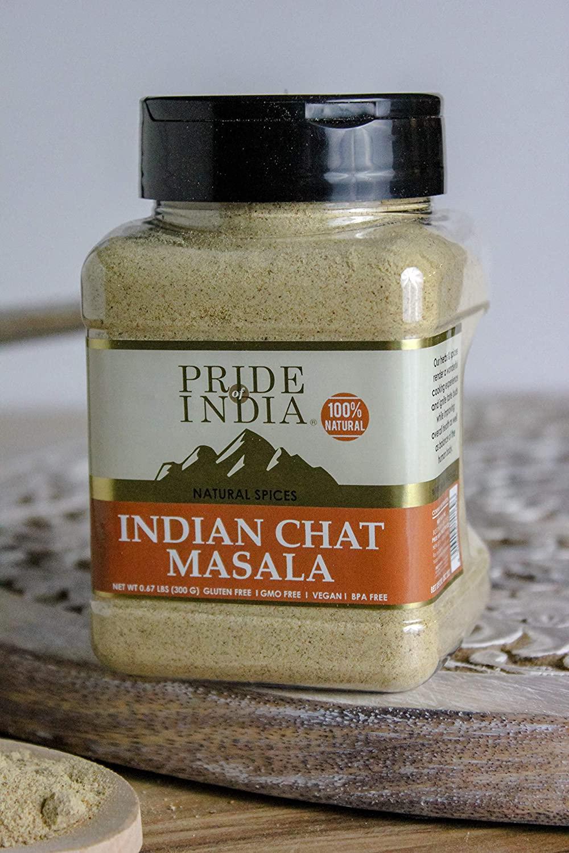 Pride Of India - Tangy Chat Masala Seasoning - Traditional Delhi Style, 8oz (227gm)