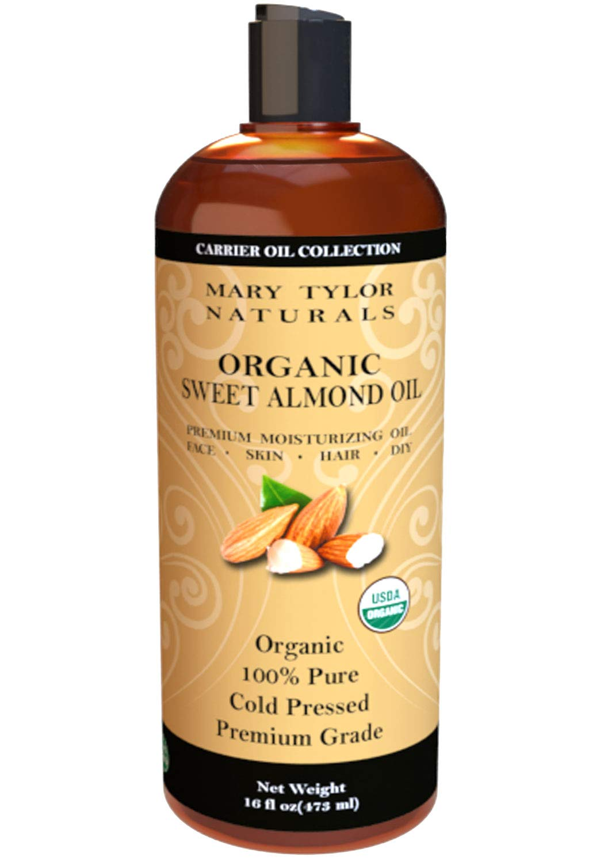 Certified organic sweet almond oil( premium moisturizing oil) 100% pure cold compressed 16fl oz (473ml)