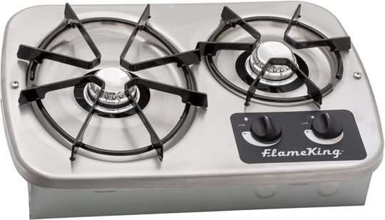 Flame King YSNHT600 2 Burner Built-In RV Cooktop Stove, Propane, 7200 and 5200 BTU Burners, Cover Included