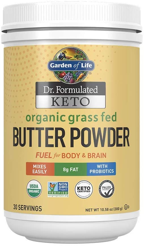 Garden of Life Dr. Formulated Keto Organic Grass Fed Butter Powder, 30 Servings, 8g Fat MCTs and CLA Plus Probiotics - Non-GMO, Gluten Free, Keto & Paleo, Best for Coffee, Shakes & Cooking, 10.58 Oz