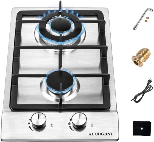 Gas Stove Gas Cooktop 2 Burners,12 Inches Portable Stainless Steel Built-in Gas Hob