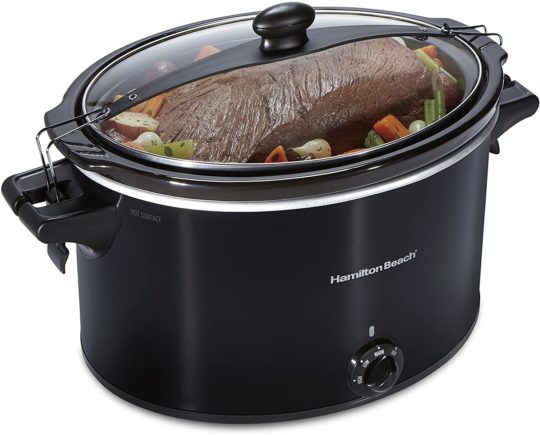 Hamilton Beach Slow Cooker, Extra Large 10 Quart, Stay or Go Portable With Lid Lock, Dishwasher Safe Crock, Black