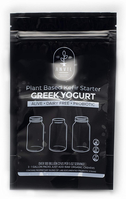 Plant Based Greek Yogurt Kefir Starter - Alive and Active Kit will produce 12 quarts of dairy free Greek yogurt kefir