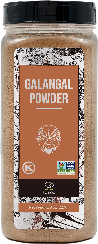 Soeos GALANGA POWDER 8OZ, NON-GMO Verified, Kosher, Great Galangal - Alpinia Galanga, Perfect for Tom Yum and Tom Kha Soups.