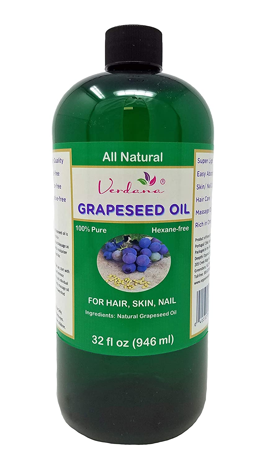Verdana Grapeseed Oil – Essential for Silky Hair, Skin, Face & Nails – Care for Sensitive Skin – Super Light - All Natural, Hexane-Free - Use for Massage, Moisturizer, Body Lotion, Carrier (32 Fl Oz)