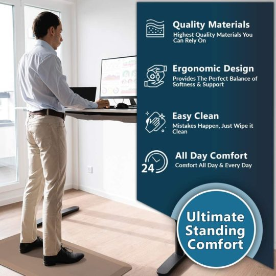 ComfiLife Anti Fatigue Floor Mat – 3-4 Inch Thick Perfect Kitchen Mat, Standing Desk Mat – Comfort at Home, Office, Garage – Durable – Stain Resistant – Non-Slip Bottom