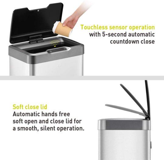 EKO Mirage-T 50 Liter 13.2 Gallon Touchless Rectangular Motion Sensor Trash Can, Brushed Stainless Steel Finish