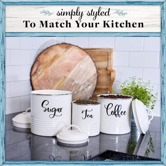 Home Acre Designs Kitchen Canisters Set of 3 - Airtight Tea, Sugar & Coffee Containers - Rustic Farmhouse Canister Jars - White
