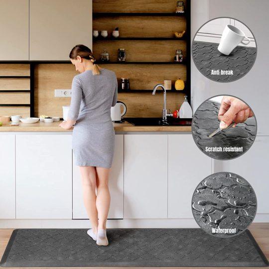 KMAT Kitchen Mat [2 PCS] Cushion Anti Fatigue Comfort Mat, Non Slip Memory Foam Kitchen Mats for Floor, Waterproof Kitchen Rugs Standing Desk Mat Floor Mats for House, Sink, Office