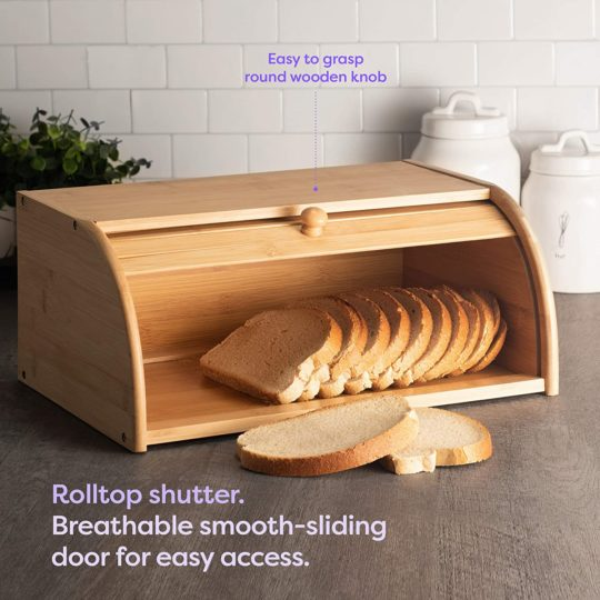 Klee Large Natural Bamboo Roll Top Wood Bread Box for Kitchen Countertop - Farmhouse Style Bread Boxes for Countertop NO ASSEMBLY Required