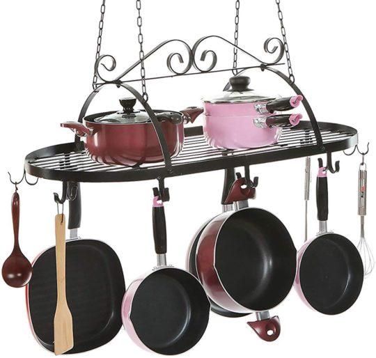 MyGift Black Scrollwork Metal Ceiling Mounted Kitchen Utensil, Pot & Pan Holder Hanging Organizer Storage Rack with 10 Dual Hooks