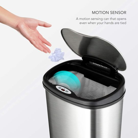 NINESTARS CB-DZT-50-13 12-9 Automatic Touchless Infrared Motion Sensor Trash Can Combo Set, 13 Gal 50L & 3 Gal 12L, Stainless Steel Base