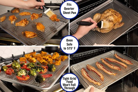Oven-Safe, Dishwasher-Safe 100% Stainless Steel Cooling and Baking Rack - Food-Safe, Heavy Duty, Small Cooling Rack for Baking