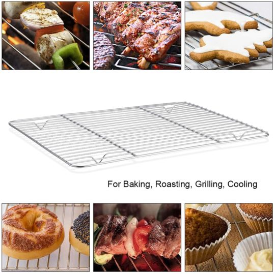 P&P CHEF Cooling Rack Pack of 2, Stainless Steel Baking Racks for Baking Roasting Grilling Drying, Rectangle