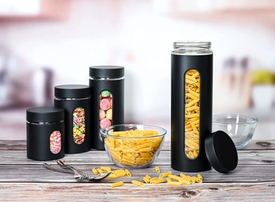 Quality Modern Black Stainless Steel Canister Set for Kitchen Counter with Glass Window & Airtight Lid - Food Storage Containers with Lids Airtight - Pantry Storage and Organization Set