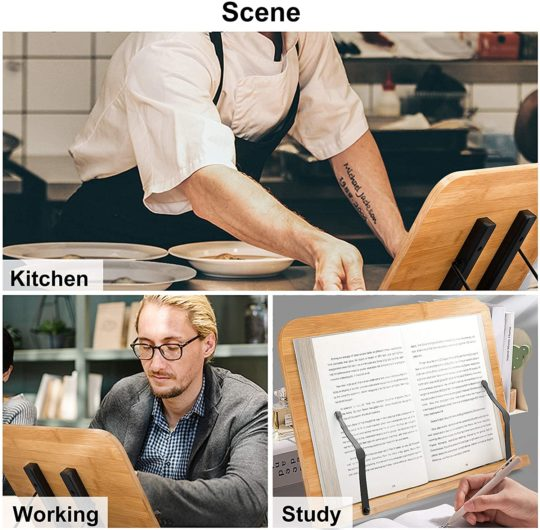 Readaeer BamBoo Book Stand Large Size (13.4 x 9.3 Inch) Reading Rest Cookbook Stand Document Holder for Kitchen & Office