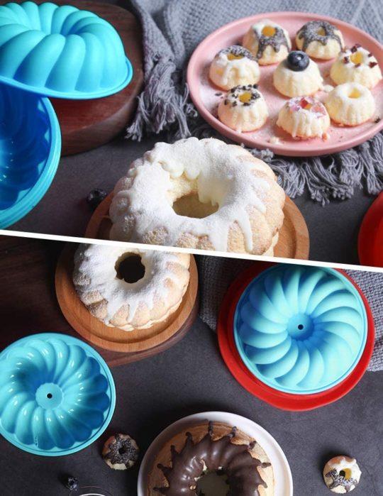Silicone Bundt Cake Pan 6 Cup - Nonstick Round Fluted Cake Mold 9 Inch - Tube Cake Pan Silicone Baking Molds for Jello, Gelatin, Pound Cake