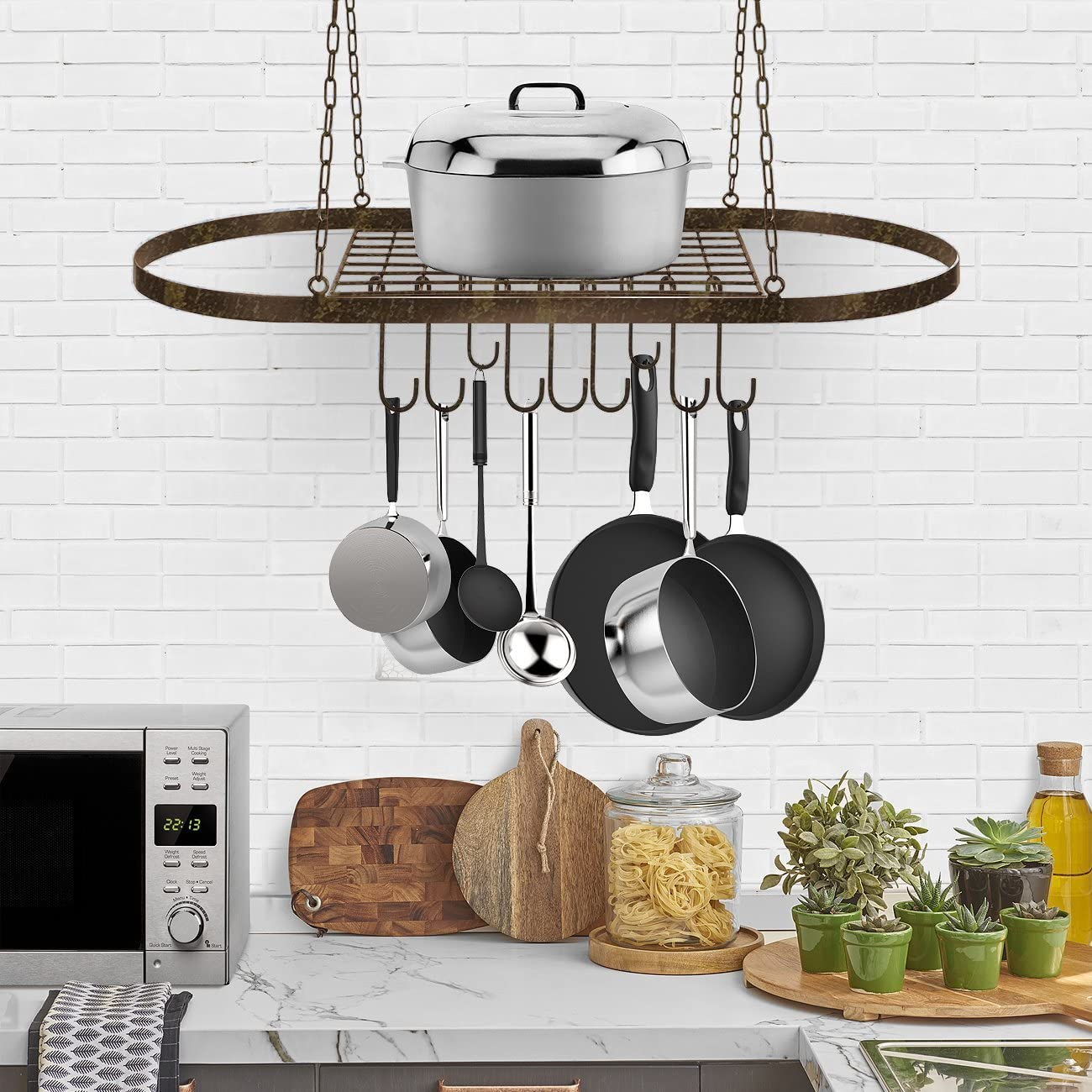 Sorbus Pot and Pan Rack for Ceiling with Hooks — Decorative Oval Mounted Storage Rack — Multi-Purpose Organizer for Home, Restaurant, Kitchen Cookware, Utensils, Books, Household (Rustic)