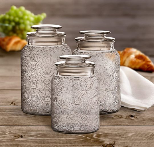 Style Setter Canister Set 3-Piece Jars in 1, 1.3 & 1.6 Liters Retro Design