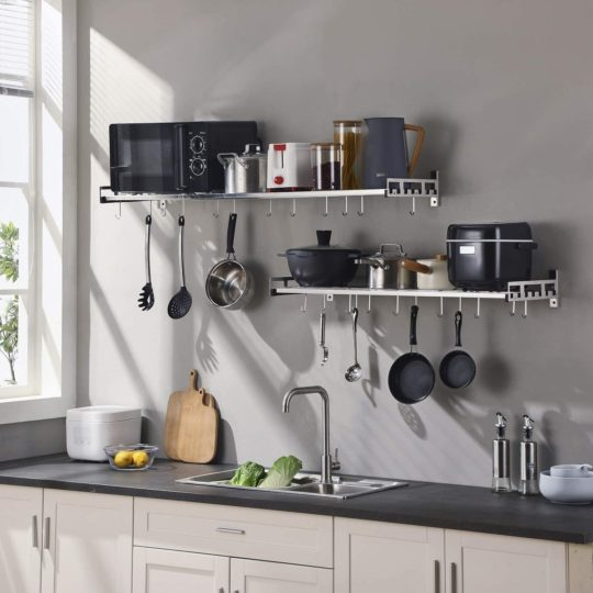istBoom Wall Mounted Pots and Pans Rack with 16 Hooks, Stainless Steel Wall Shelf for Kitchen Bathroom Bedroom Pantry
