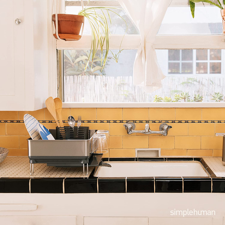 simplehuman Kitchen Compact Steel Frame Dish Rack with Swivel Spout Fingerprint-Proof